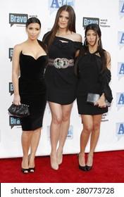 Kim Kardashian, Khloe Kardashian and Kourtney Kardashian at the 2009 Bravo's A-List Awards held at the Orpheum Theatre in Los Angeles on April 5, 2009.