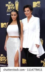 Kim Kardashian and Kris Jenner at the 2018 MTV Movie And TV Awards held at the Barker Hangar in Santa Monica, USA on June 16, 2018.