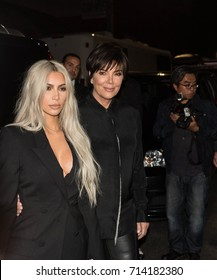 Kim Kardashian West and Kris Jenner arriving at the Alexander Wang SS18 Runway Show for New York Fashion Week 2017 in Brooklyn, New York on September 9, 2017.