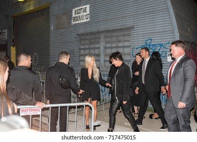 Kim Kardashian West and Kris Jenner walking into the Alexander Wang SS18 Runway Show for New York Fashion Week 2017 in Brooklyn, New York on September 9, 2017.