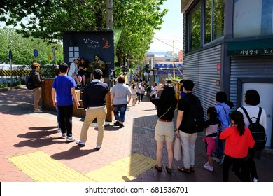 Kim Kwangseok Street, May 14, 2017 Daegu City Korea: It is a street made in Daegu, his hometown to commemorate the singer Kim Kwang Suk. It is now a tourist attraction in Daegu.