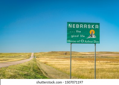 Kimball, NE, USA - September 13, 2019: Nebraska , the good life, home of Arbor Day - roadside welcome sign at state border with Colorado, late summer scenery