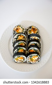 Kimbap filled with vegetables, egg and eanchovy