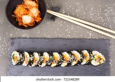 Kimbap or gimbap with tuna korean food