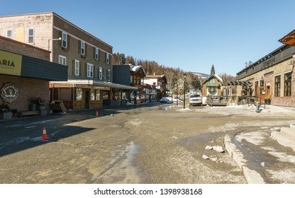KIMBERLEY, CANADA - MARCH 19, 2019: street view and store front in small town british columbia.