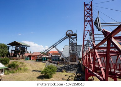 Kimberley, South Africa, 10th April -2019: Mine shaft head from old diamond mine.
