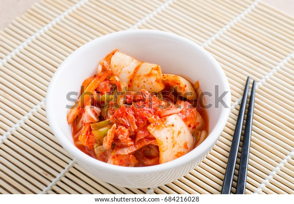 Kimchi cabbage (Korean food) in a bowl ready to eating
