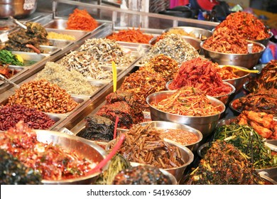 Kimchi, dried fish and seaweed for sale at the market in Jeju, South Korea.
