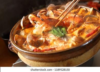 Kimchi-jjigae, Korean style spicy hot pot