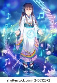 Kimono girl's headphone #1