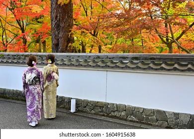 Kimono woman looking at autumn leaves