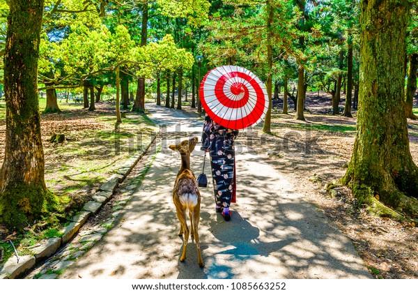 Kimono women and Nara deer