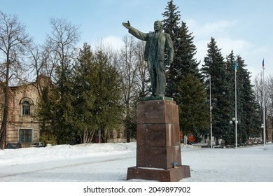 Kimry, Tver region, Russia - March 6, 2021: Monument to V.I.Lenin, on October Square. It was erected in 1934, and before its appearance on the same site there was a monument to Tsar Alexander II