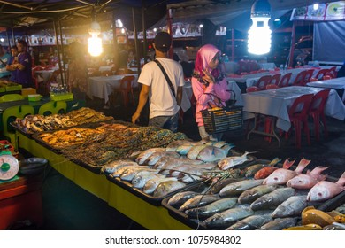 KINABALU,MALAYSIA - 7 May 2017: Variety of fresh seafood at a stall. Customer can order and eat at this restaurant.
