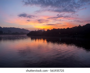 Kinabatangan River at sunset Borneo Malaysia