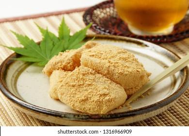 Kinako mochi /Japanese sweet / Rice dumpling with sweet soybean flour