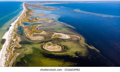Kinburn Spit, black sea in Ukraine,