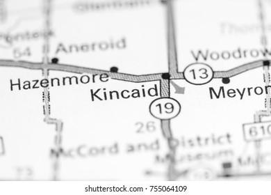 Kincaid. Canada on a map.
