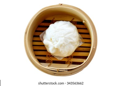 Kind of Chinese snacks steamed stuff bun in bamboo basket
