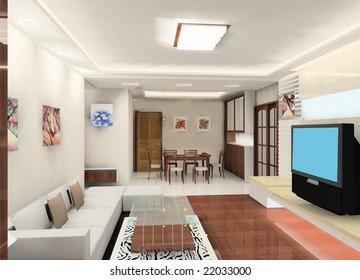 a kind of interior design plan (living room)