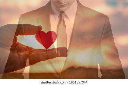 Kind loving man. People showing love good character and compassion in heart concept.