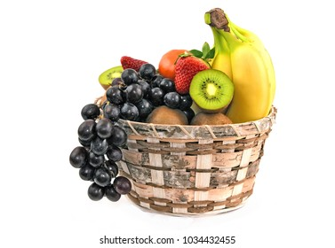A lot kind of mixed fruits in basket on white  background.