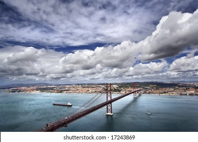 Kind on the river Tagus and the bridge of a name on April 25, Lisbon, Portugal
