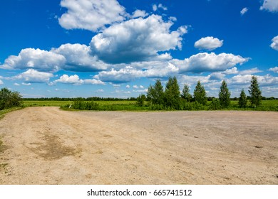 Kind of a traditional rural landscape in Russia on a summer day