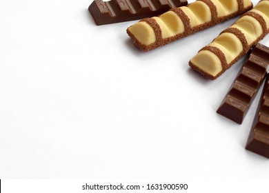 Kinder small Chocolate bars and bueno white made by Ferrero SpA. Kinder is a confectionery product brand line of Italian multinational manufacturer Ferrero