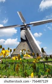 Kinderdijk / Netherland - SEPTEMBER 03,2017: View of a windmill