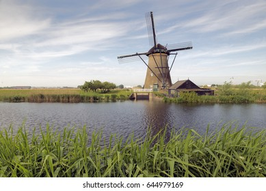 KINDERDIJK, NETHERLANDS - MAY 14, 2017: Is a Dutch town, located in the province of South Holland in the Netherlands Kinderdijk is world famous for its 19 mills .