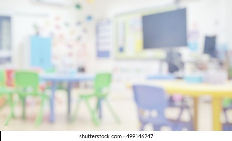 Kindergarten classroom school background. Class room for children students or nursery kids. Blur daycare preschool.