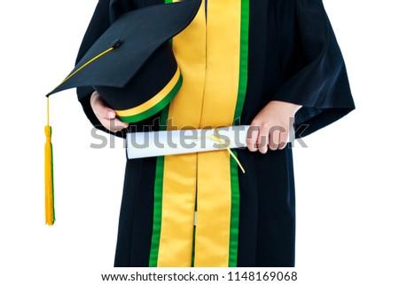 Kindergarten Graduation Child Graduation Gown Holding Stock Photo