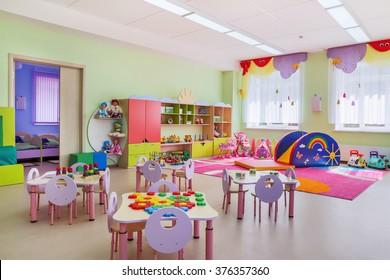 Kindergarten room with toys.