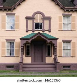 KINDERHOOK, NEW YORK - JUNE 28: Entrance to President Martin Van Buren's Lindenwald mansion at the Martin Van Buren National Historic Site on June 28, 2013 in Kinderhook, New York