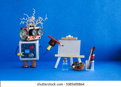 Kindly robot artist begins to create a drawing with a pencil. White paper template, wooden easel and artist's tools palette, pencils case. Advertising poster studio school of visual arts interior.