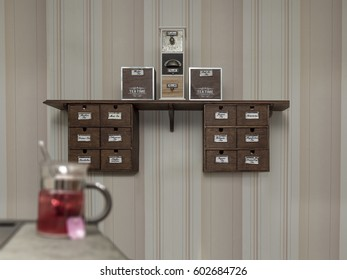 Kinds of tea in front of striped wallpaper