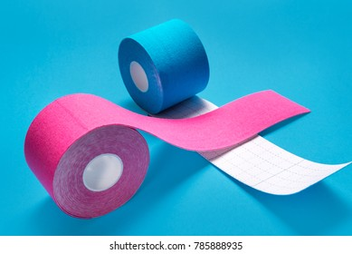 Kinesiology tape on colored background