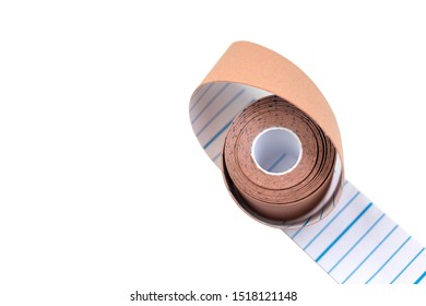 Kinesiology tape roll for medical design. Sports injury treatment, elastic therapeutic tape. Physiotherapy, sport injury rehabilitation.