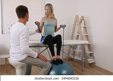 Kinesiology treatment , Physiotherapy, Sport Injury rehabilitation of athlete female patient.