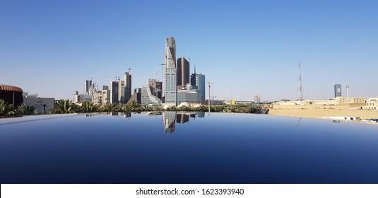 king Abdullah Financial centre reflection in glass,Riyadh, Saudi Arabia, April, 2019