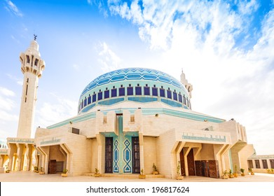 King Abdullah I Mosque in Amman, Jordan. It was built in 1982 - 1989.