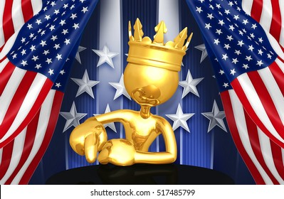 King of America With The Original 3D Character Illustration