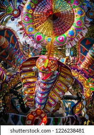 King of the bands, the largest costume of the troupe depicting a serpent,,  performs in Junkanoo, a traditional island cultural festival in Nassau,