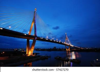 King Bhumibol Bridge at night