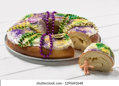 King Cake on a White Board Background