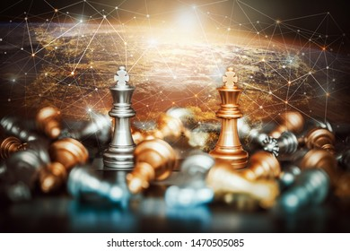King chess battle on chessboard,Concept for business strategy and tactic battle,Success, business strategy.