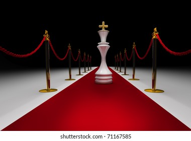 King  chess on red carpet isolated. 3d render