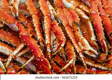 King crabs meat. Sea food background, Bergen fishmarket, Norway