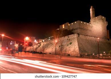 King David Citadel at night in Jerusalem, Israel.